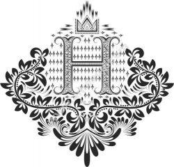 Doodles Font Ornamental Floral Letters H