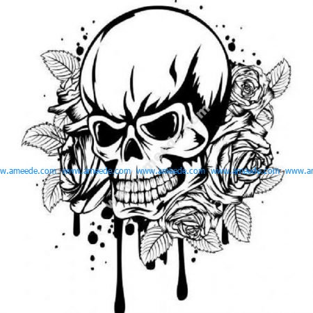 Dripping rose skull