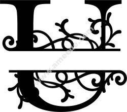Flourished Split Monogram U Letter