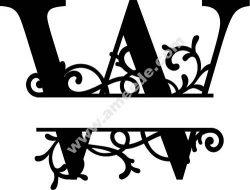 Flourished Split Monogram W Letter