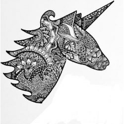 Hand drawn zentangle unicorn