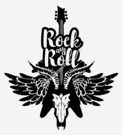 Rock my roll guitar skull