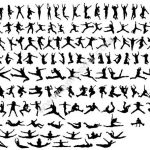 Silhouettes Jumping People