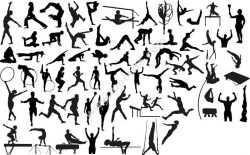 Silhouettes of Sportsmen Athletes Gymnasts