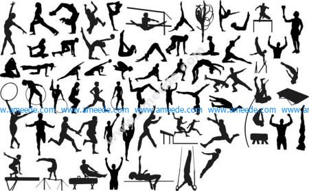 Silhouettes of Sportsmen Athletes Gymnasts