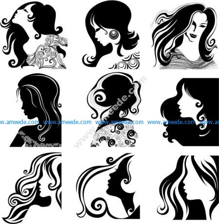 Women Hairstyle Silhouettes