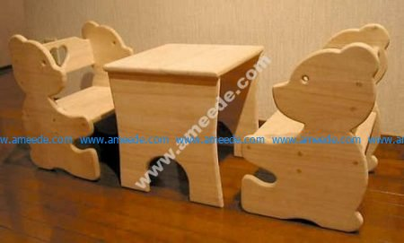 Bear Chair and Table Set for Kids