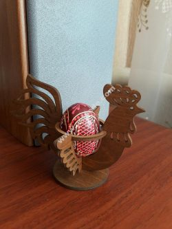 Laser Cut Easter Chicken Egg Holder Hen Rooster Egg Stand