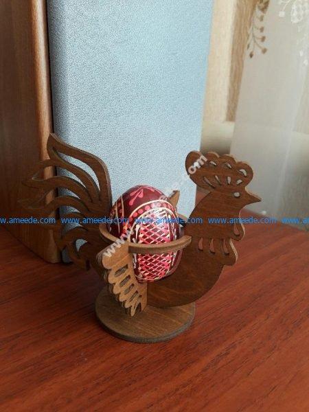 Laser Cut Easter Chicken Egg Holder Hen Rooster Egg Stand