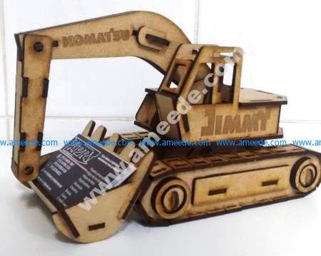 Laser Cut Excavator Visiting Card Holder
