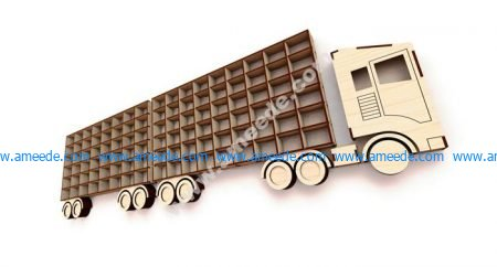 Laser Cut Truck With Trailer Wall Shelf