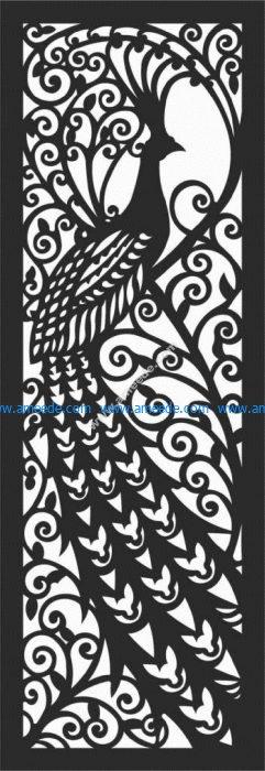 Peacock laser cutting design – Graphic Design Vector