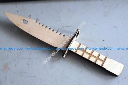 vector Laser Cut Plywood M9 Bayonet Military Knife