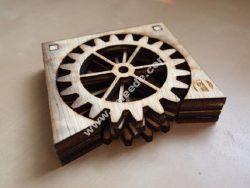 3D Wooden Gear Coasters