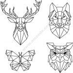 Head of deer, wolf, butterfly, owl