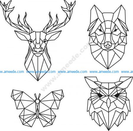 Head of deer, wolf, butterfly, owl