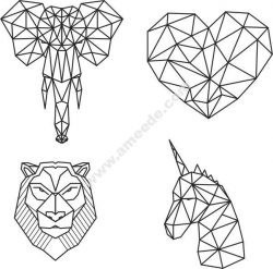 Head of elephant, lion, heart, horse