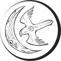 Moon icon and swallow bird