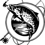 Salmon fishing club icon