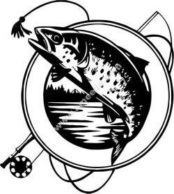 Salmon fishing club icon
