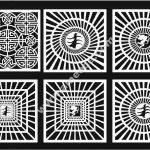 Set of Geometric Square Jali Design