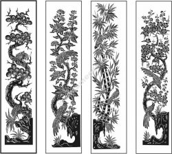Vector four quarter paintings. Spicy, bamboo, chrysanthemum, apricot tree, and even birds