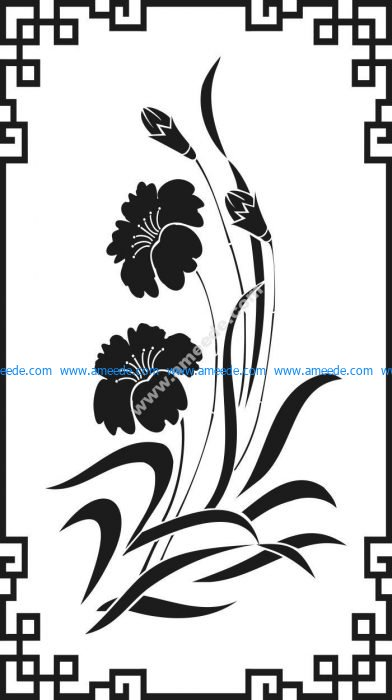 Vector wing-shaped pattern of two small chrysanthemum flowers