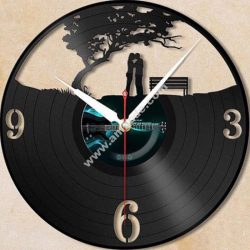 """Wall clock from a vinyl record """"Lovers under a tree"""""""