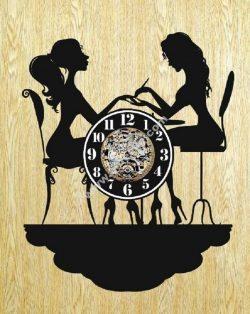 clock shape two girls