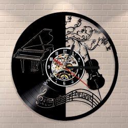 Piano Music Vinyl Clock Record Wall Clock