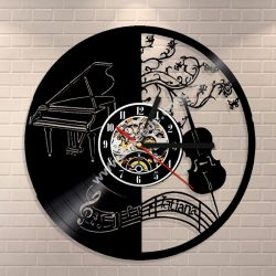Piano Music Vinyl Clock Record Wall Clock
