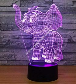 3d Elephant Illusion Led Lamp