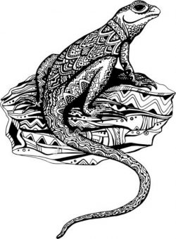 Hand Drawn Lizard Floral