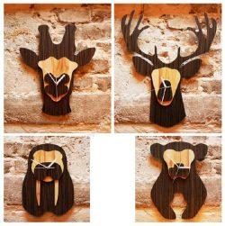 Jungle Animal Heads Shaped Wall Clocks