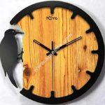 Laser Cut Woodpecker Wall Clock