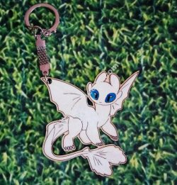 Toothless Nightfury White Fury Keychain