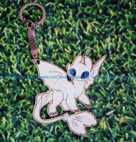Toothless Nightfury White Fury Keychain