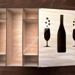 Wooden box with bottle and wineglass