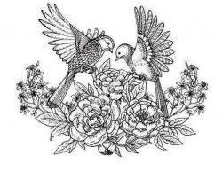 Detailed birds and flowers