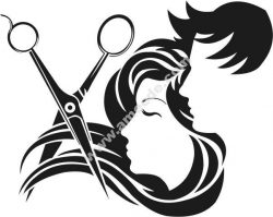 Salon decoration hair and scissors