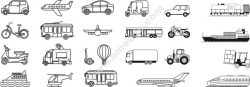 transport lineart set