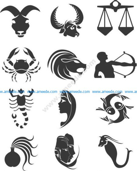 12 zodiac vector pattern