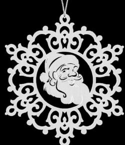 Snowflakes have the image of santa claus file .cdr and .dxf free vector download for Laser cut plasma