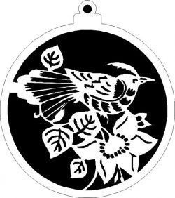 Christmas tree decoration balls with crested birds file .cdr and .dxf free vector download for Laser cut plasma