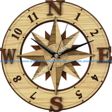 Compass Wall Clock Template