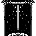 Decorative mirror frame umbrella and raindrops  file .cdr and .dxf free vector download for CNC cut
