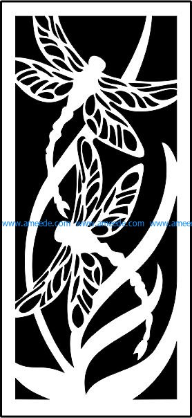 Dragonfly panel screen file .cdr and .dxf free vector download for CNC cut