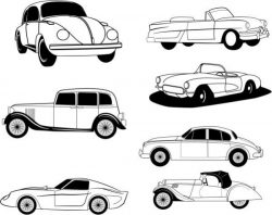 Drawings of famous car models in history