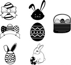 Egg and rabbit design template for Easter day