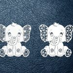 Elephant design template printed on leather plate